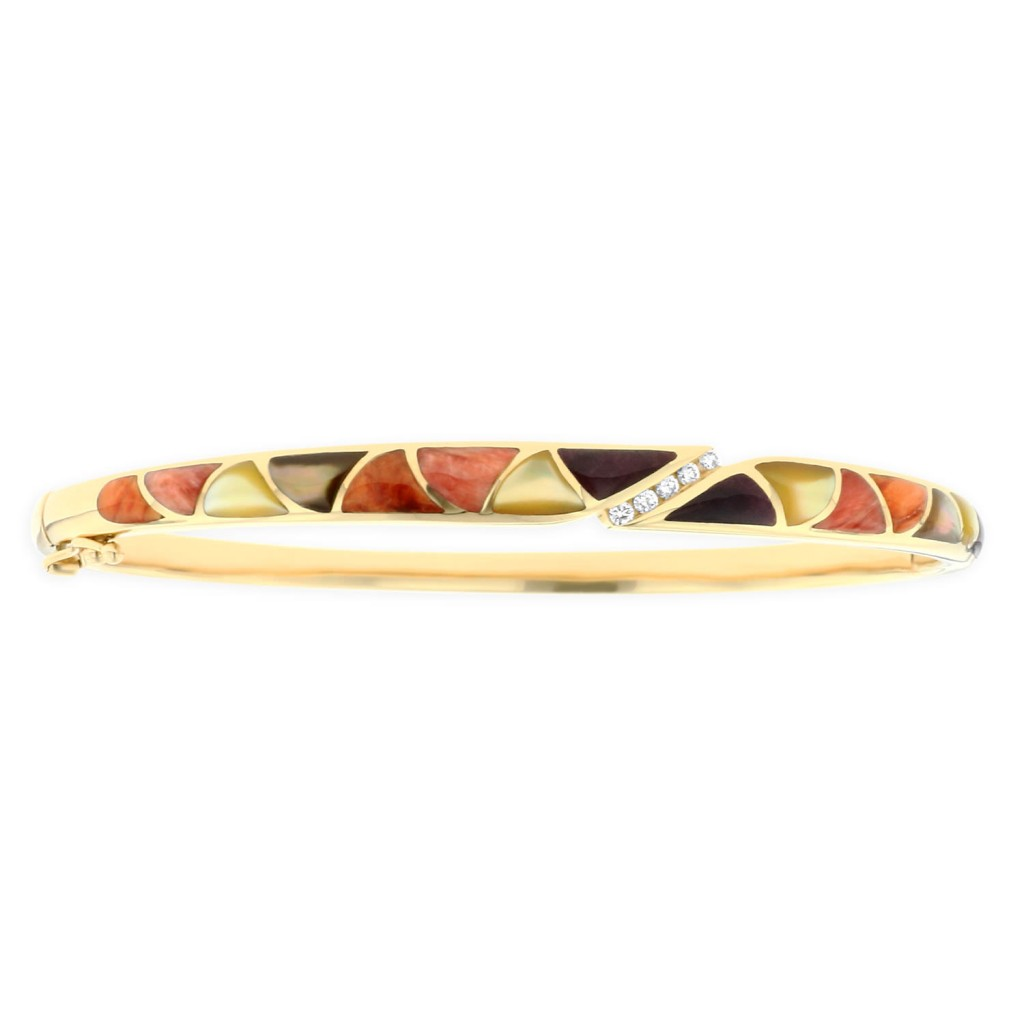 14 KT yellow gold Bracelet with inlay  and diamonds 1