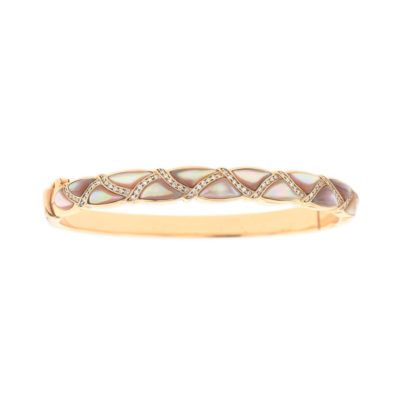 14 KT rose gold Bracelet with inlay  and diamonds