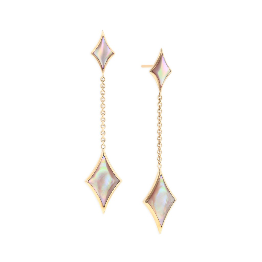 14 KT rose gold Earring with inlay 1