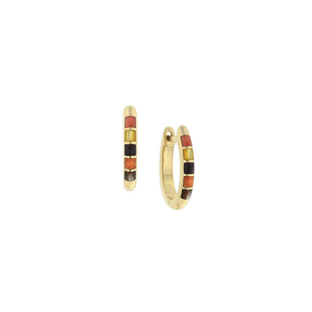 14 KT yellow gold Earring with inlay 1