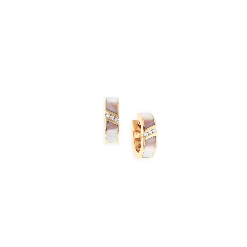 14 KT rose gold Earring with inlay  and diamonds 1
