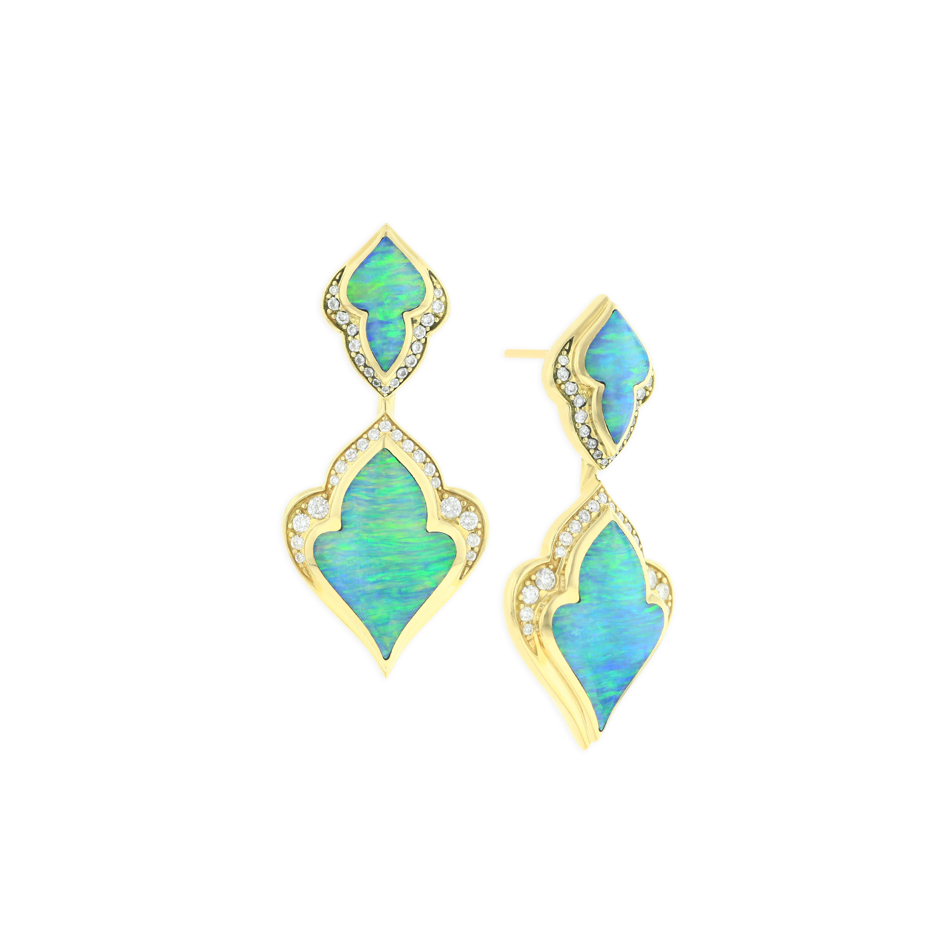 18 KT yellow gold Earring with inlay  and diamonds