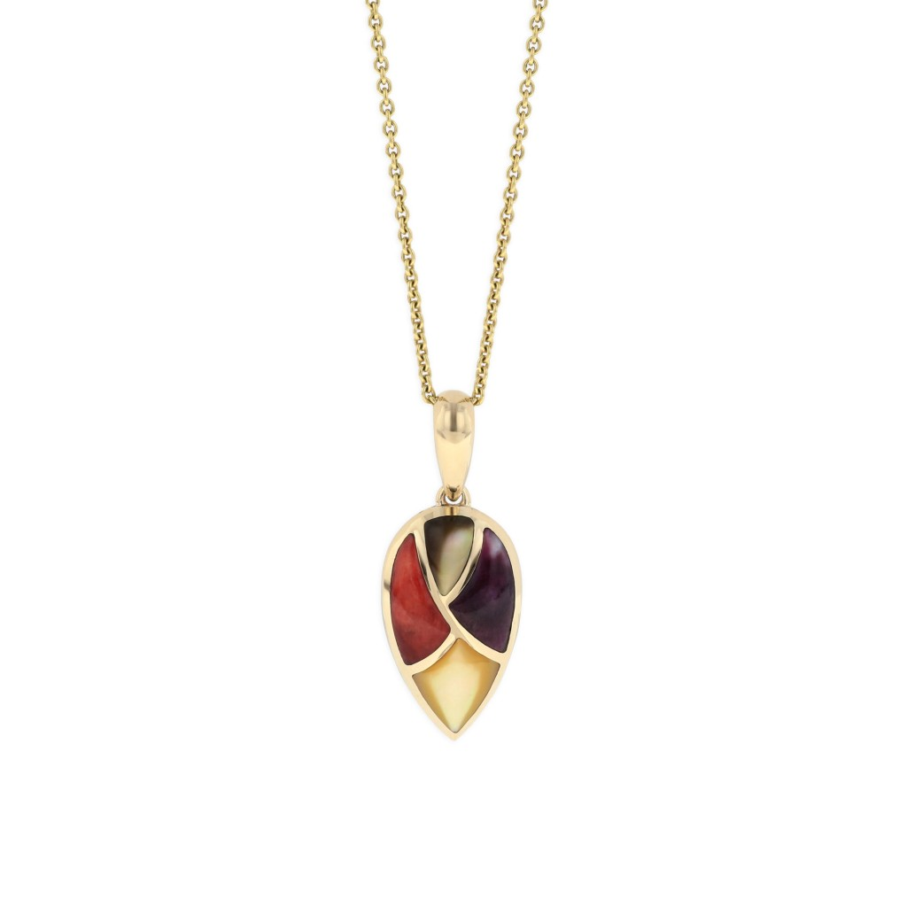 14 KT yellow gold Pendant with inlay 1
