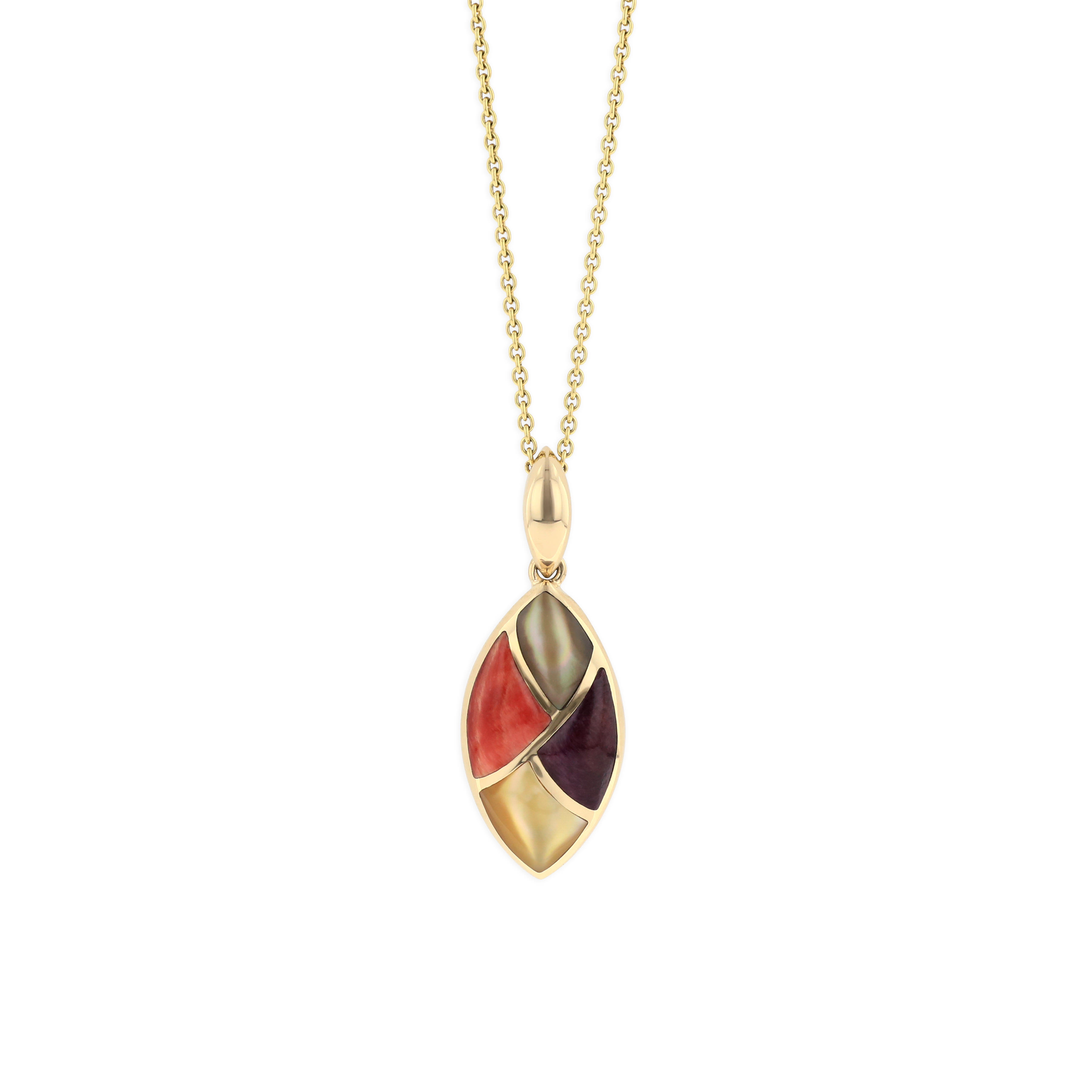 14 KT yellow gold Pendant with inlay