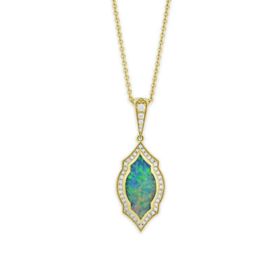 18 KT yellow gold Pendant with inlay  and diamonds