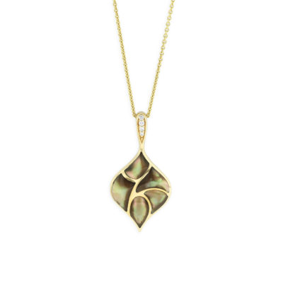 14 KT yellow gold Pendant with inlay  and diamonds