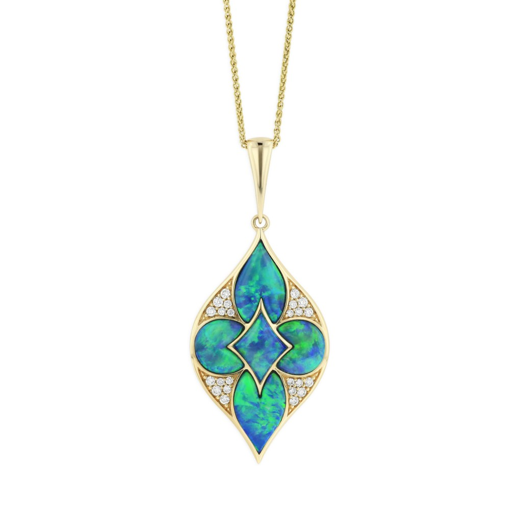14 KT yellow gold Pendant with inlay  and diamonds 1