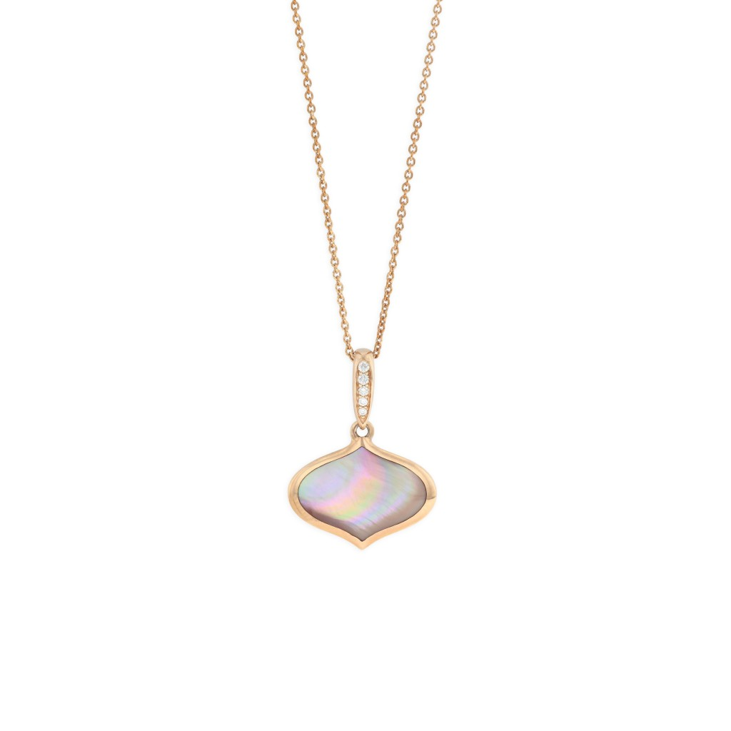 14 KT rose gold Pendant with inlay  and diamonds 1
