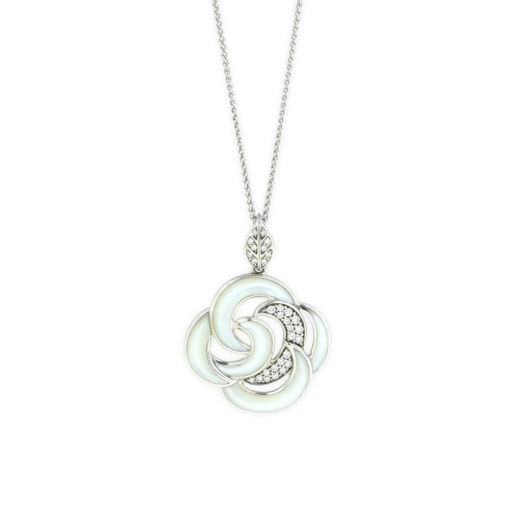 14 KT white gold Pendant with inlay  and diamonds 1