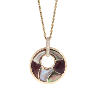 14 KT rose gold Pendant with inlay  and diamonds