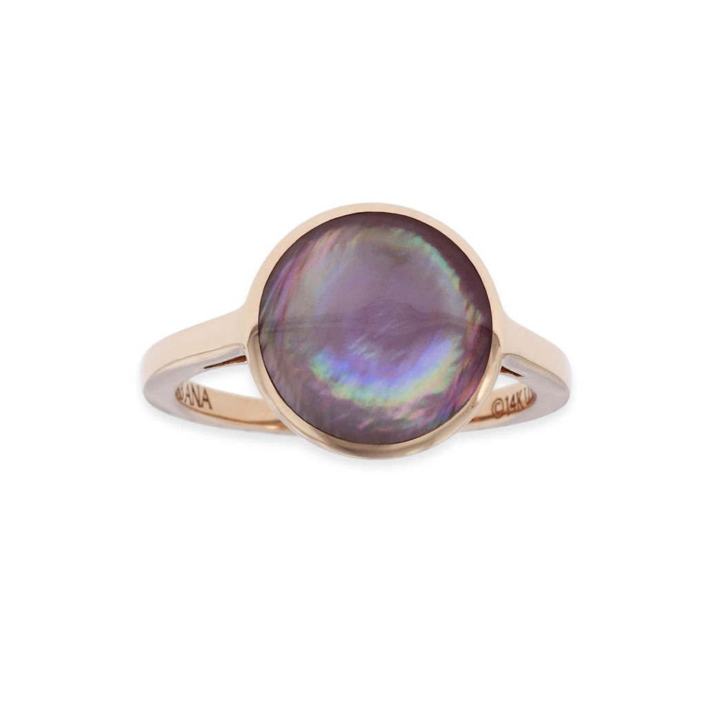 14 KT rose gold Ring with inlay 1