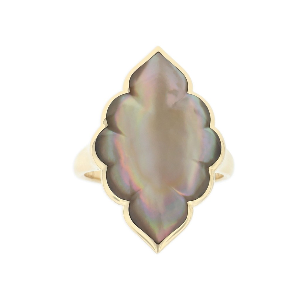 14 KT yellow gold Ring with inlay 1