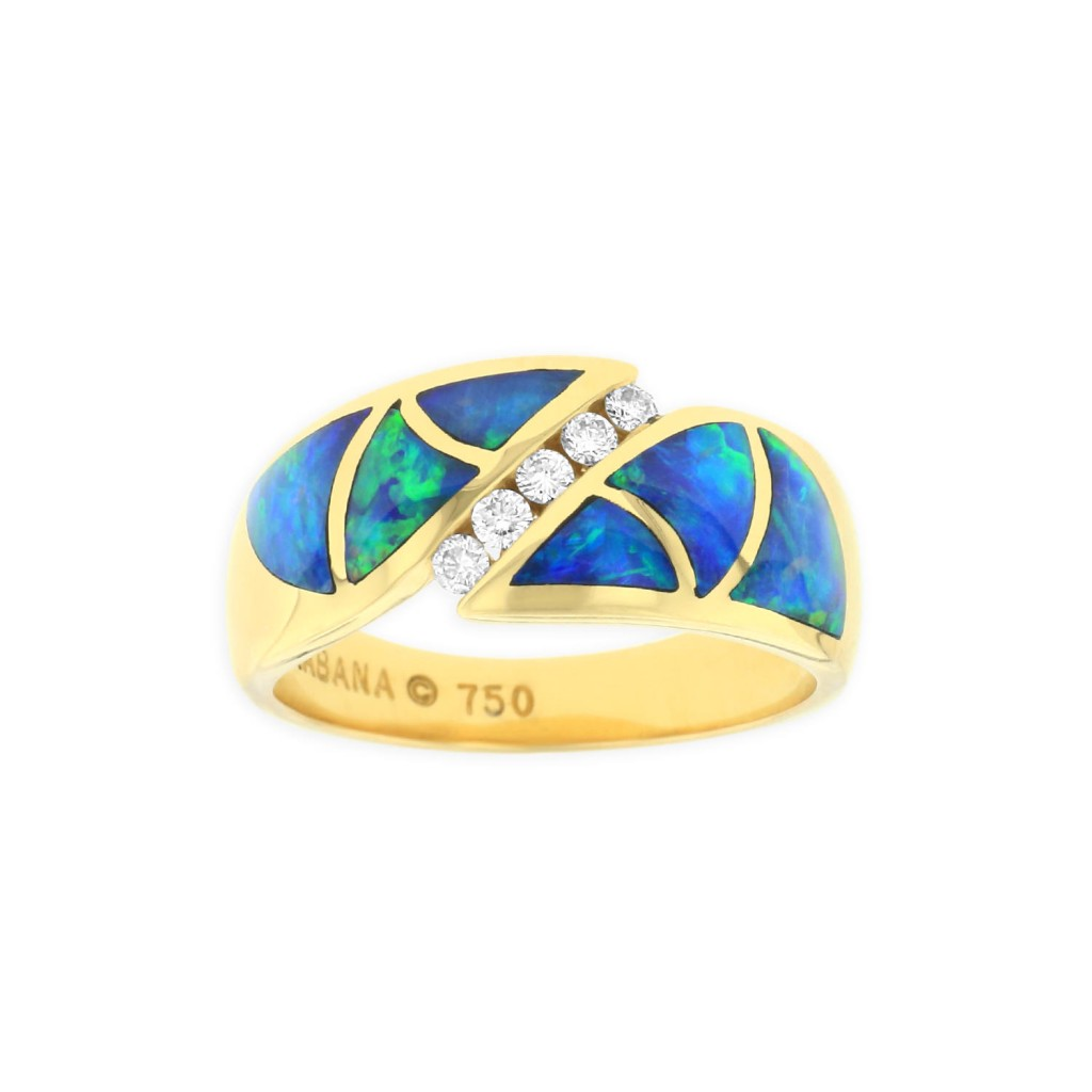 18 KT yellow gold Ring with inlay  and diamonds 1
