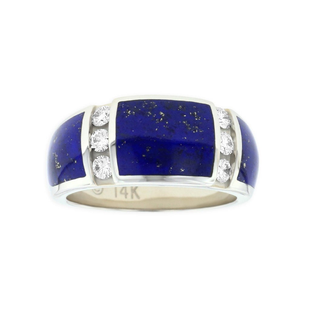 14 KT white gold Ring with inlay  and diamonds 1