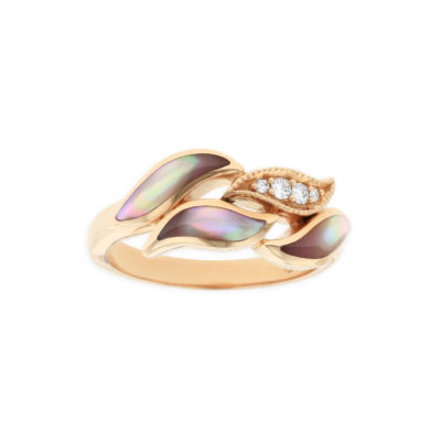 14 KT rose gold Ring with inlay  and diamonds