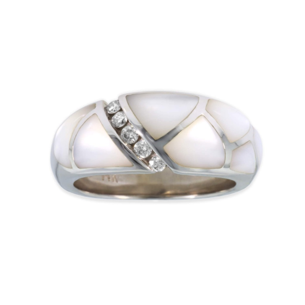 14 KT white gold Ring with inlay  and diamonds 2