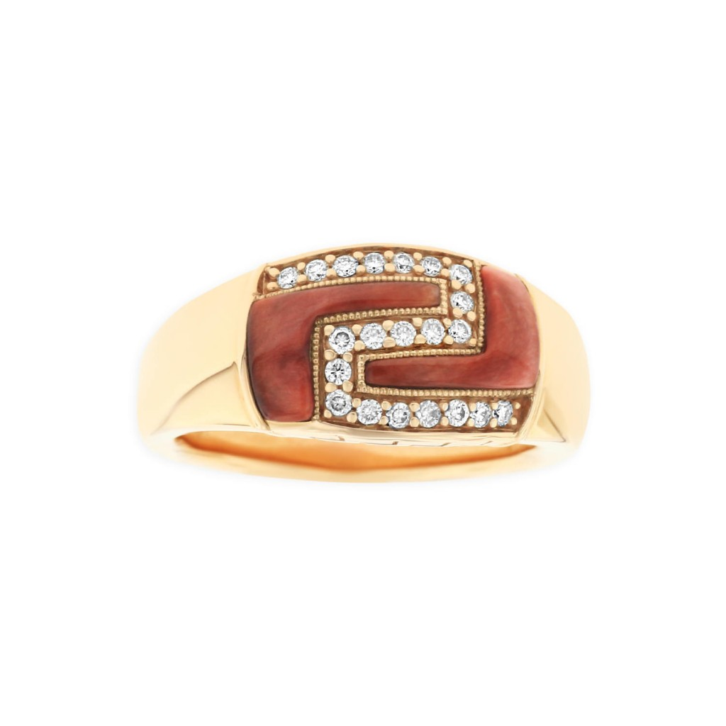 14 KT rose gold Ring with inlay  and diamonds 1