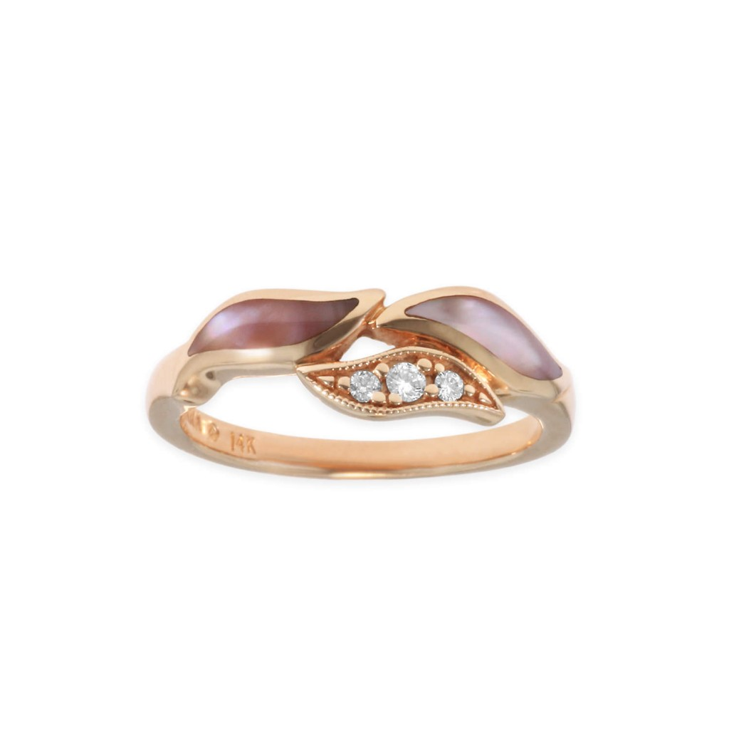 14 KT rose gold Ring with inlay  and diamonds 2