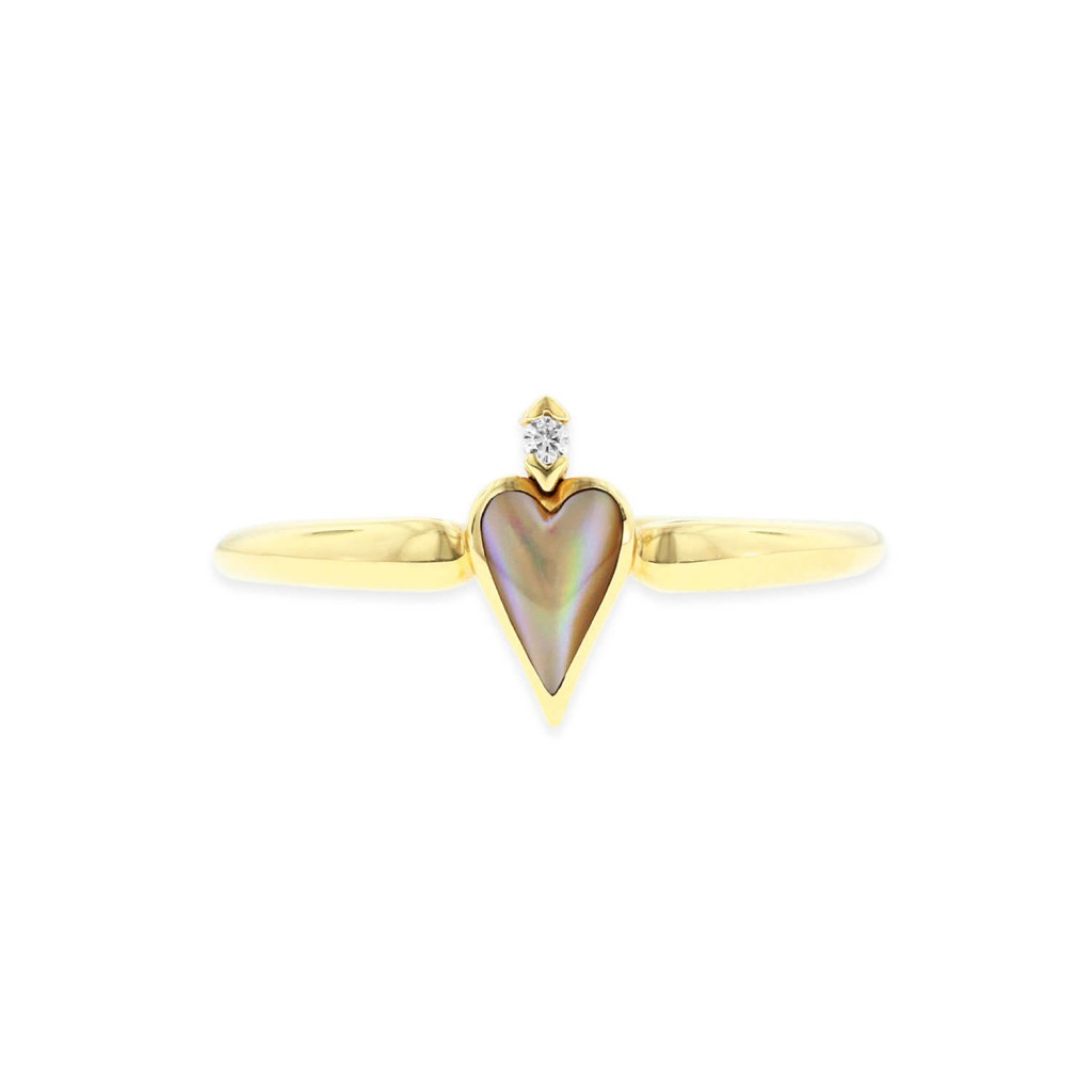 14 KT yellow gold Ring with inlay  and diamonds 2
