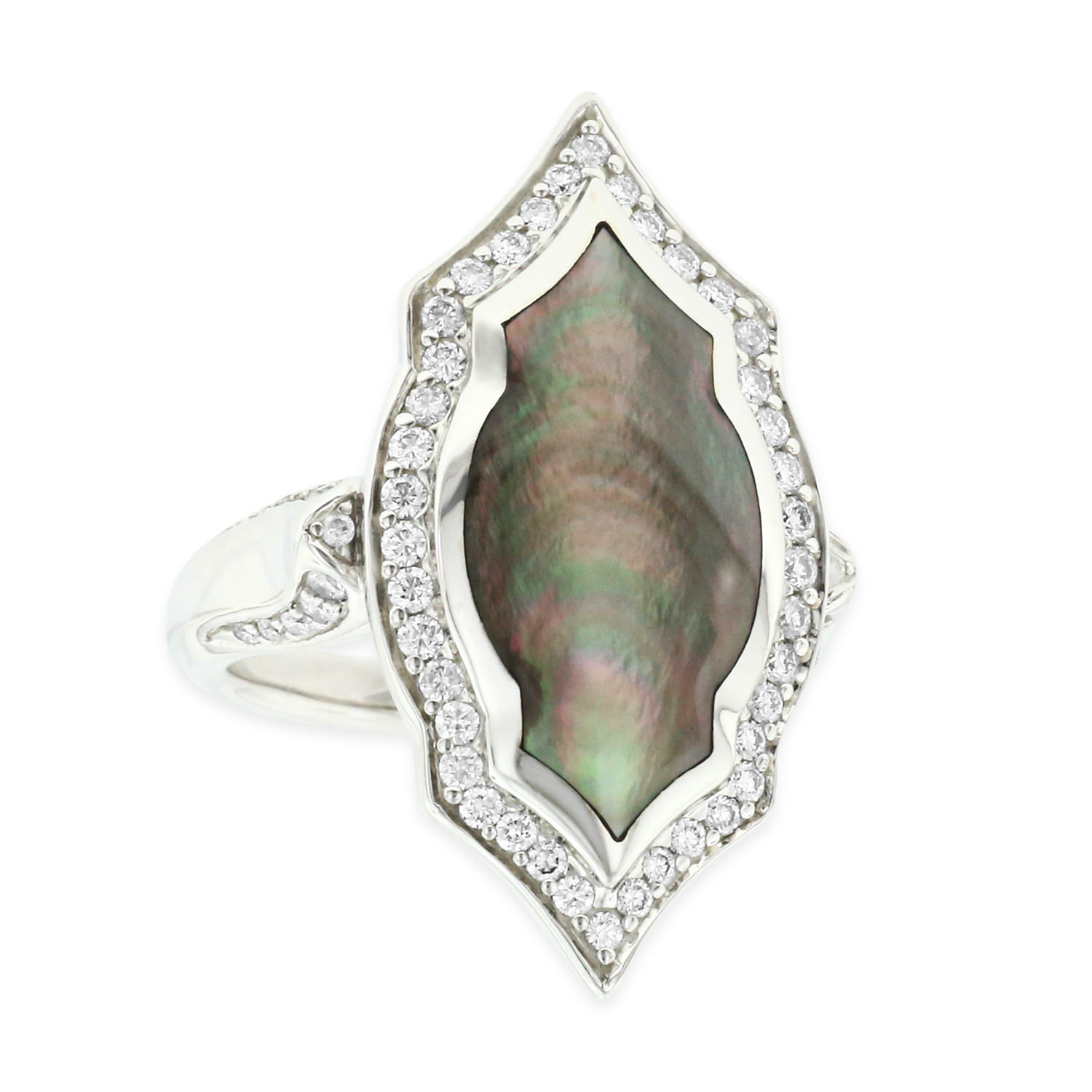 14 KT white gold Ring with inlay  and diamonds