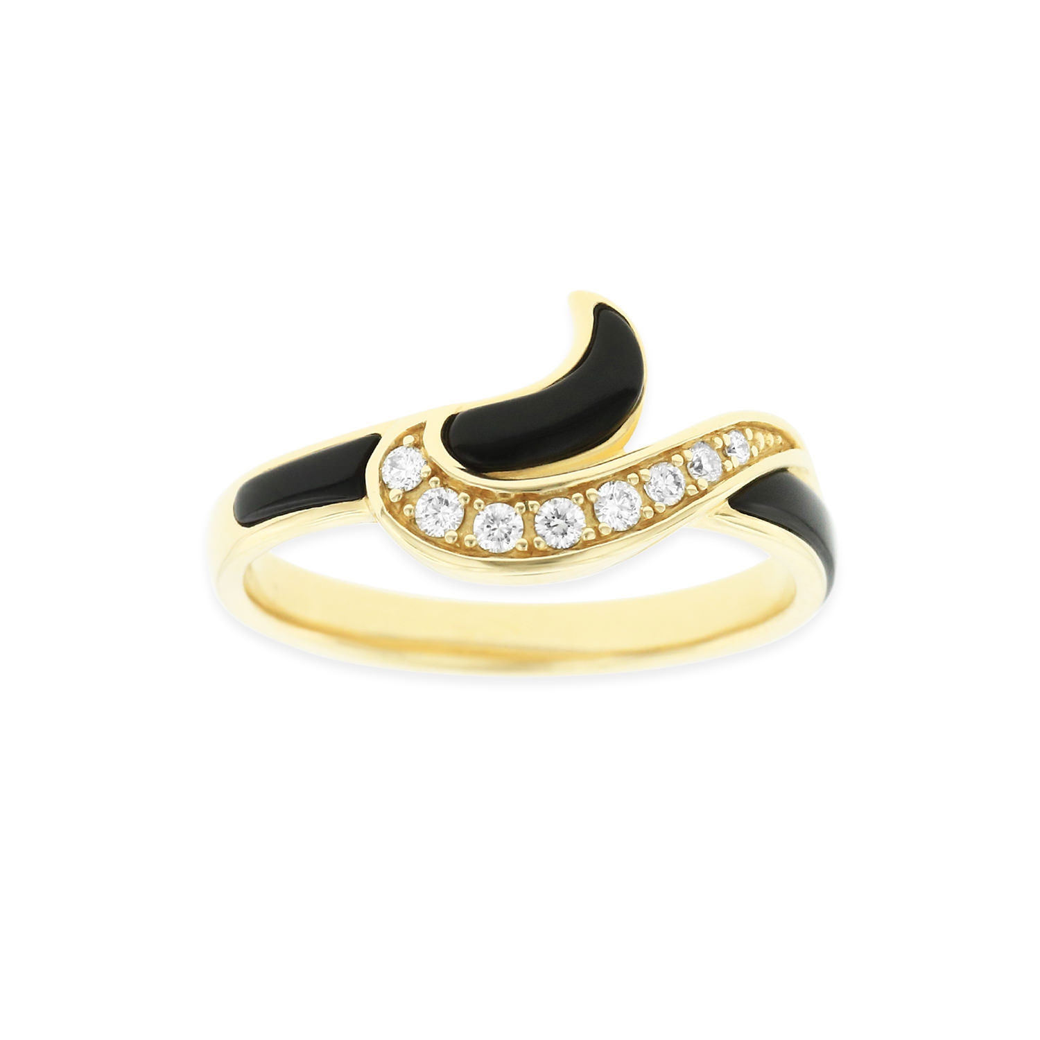 14 KT yellow gold Ring with inlay  and diamonds