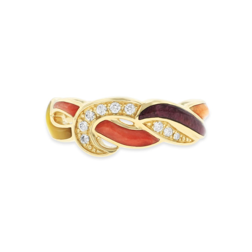 14 KT yellow gold Ring with inlay  and diamonds 3