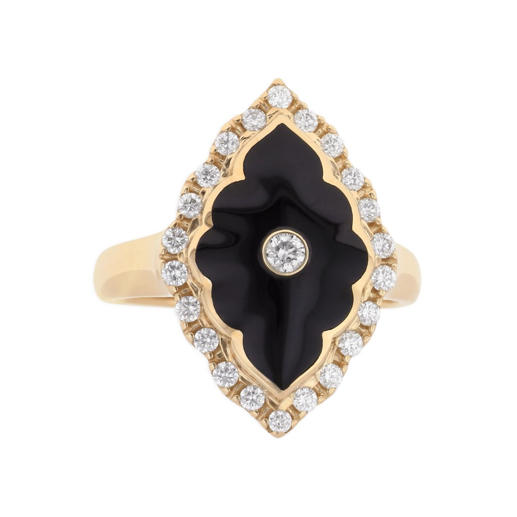 14 KT yellow gold Ring with inlay  and diamonds 1