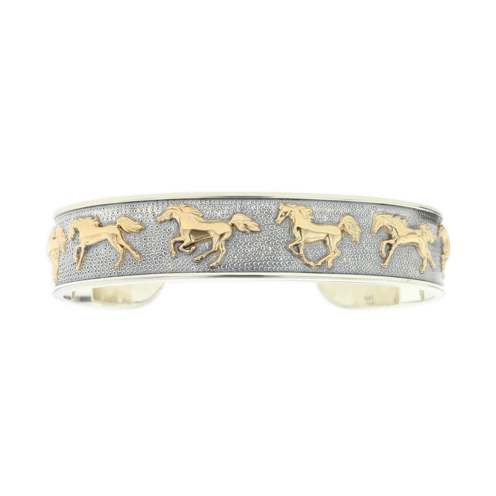 14 KT yellow gold and sterling silver bracelet 1