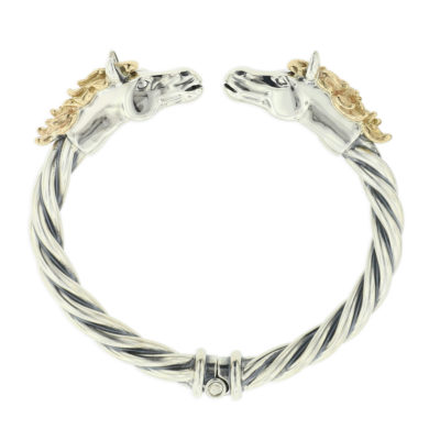 14 KT yellow gold and sterling silver bracelet