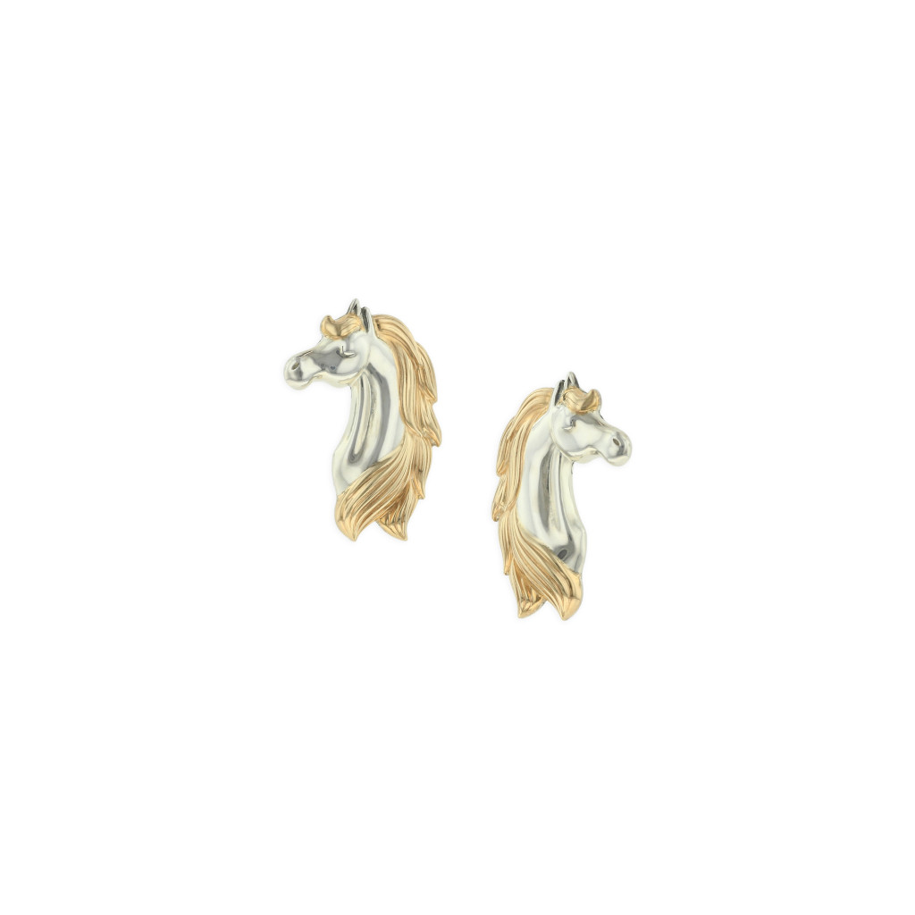 14 KT yellow gold and sterling silver earrings 1