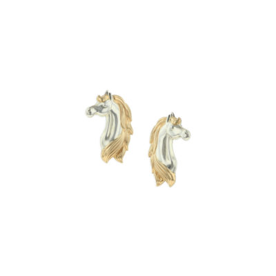 14 KT yellow gold and sterling silver earrings