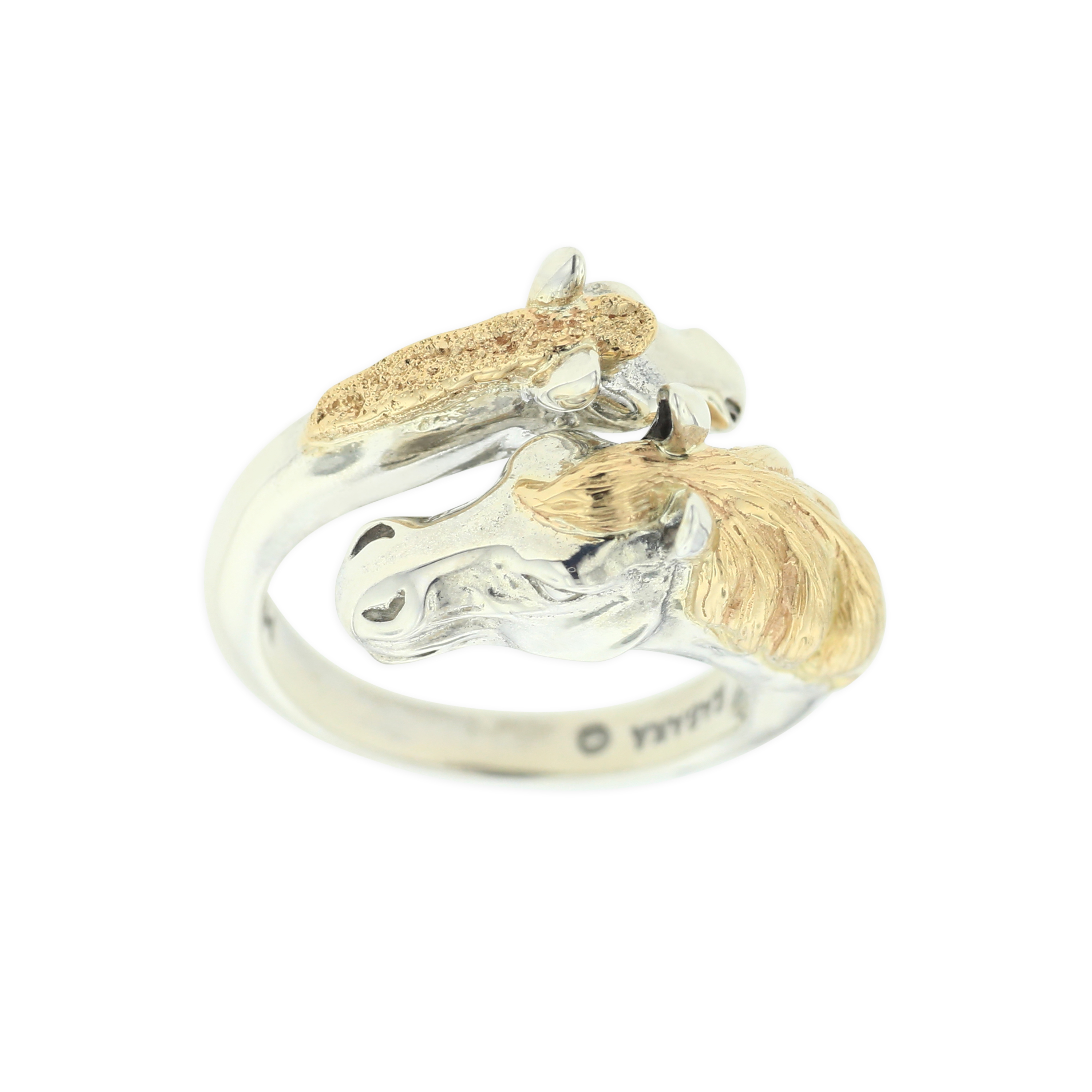 14 KT yellow gold and sterling silver ring