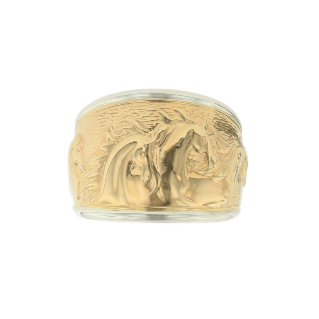 14 KT yellow gold and sterling silver ring 1