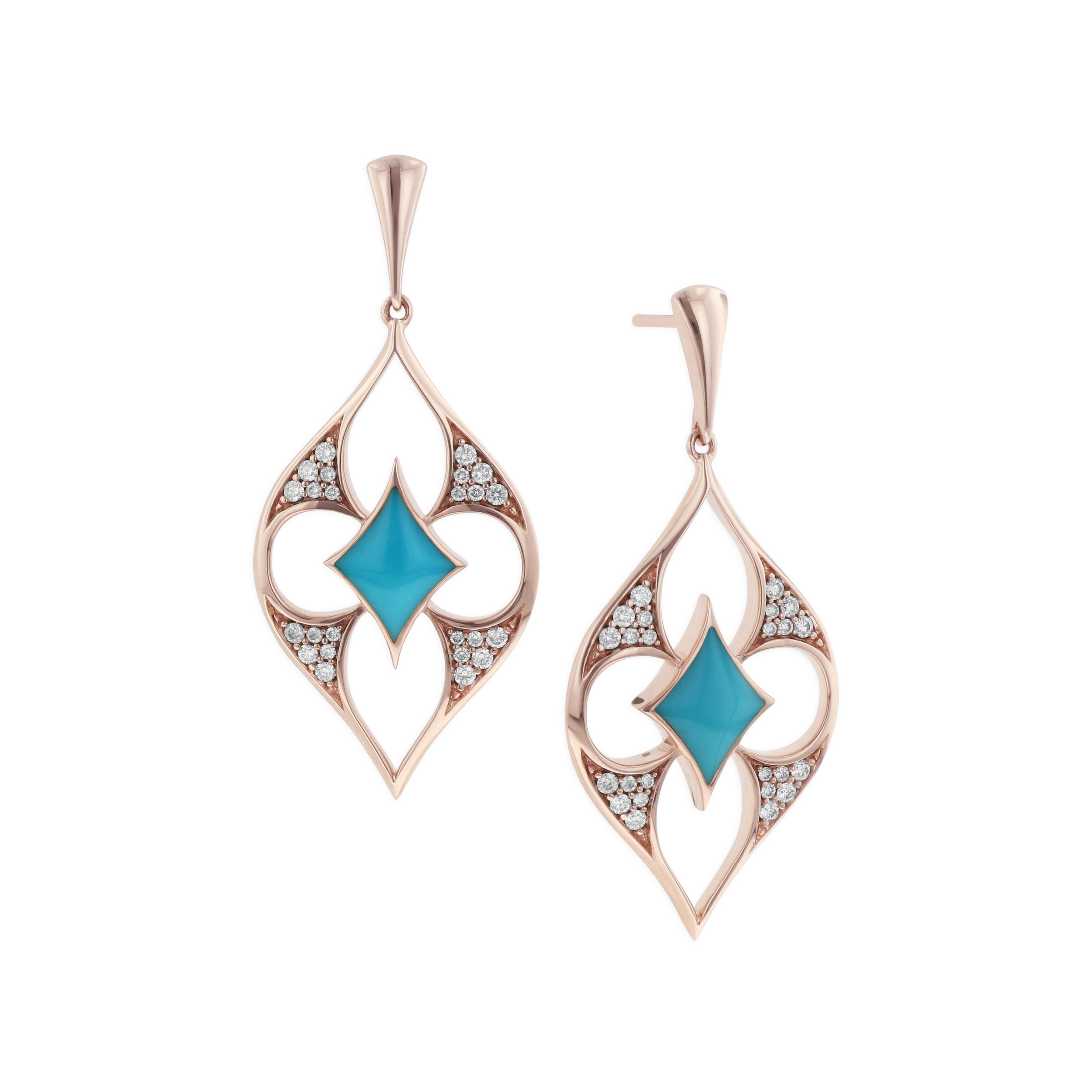 14 KT rose gold Earring with inlay  and diamonds