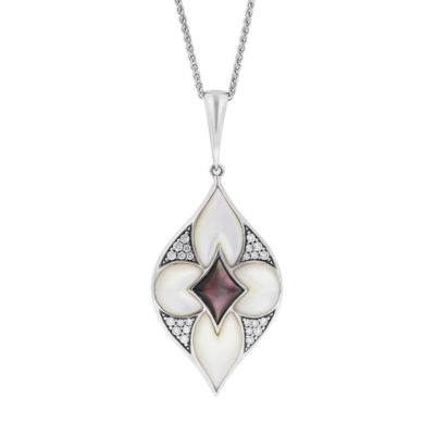 14 KT white gold Pendant with inlay  and diamonds