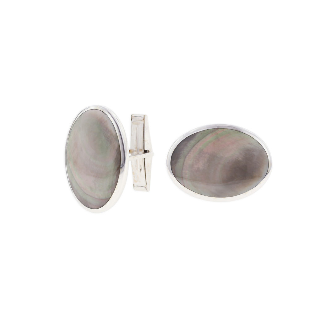 14 KT white gold Cufflinks with inlay 1