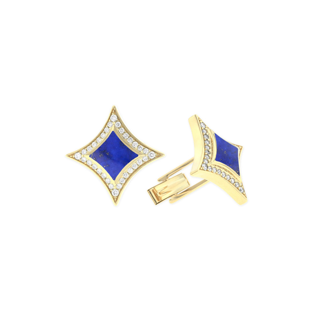 14 KT yellow gold Cufflinks with inlay 1