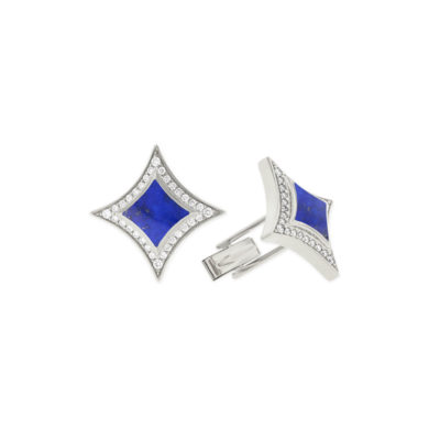 14 KT white gold Cufflinks with inlay