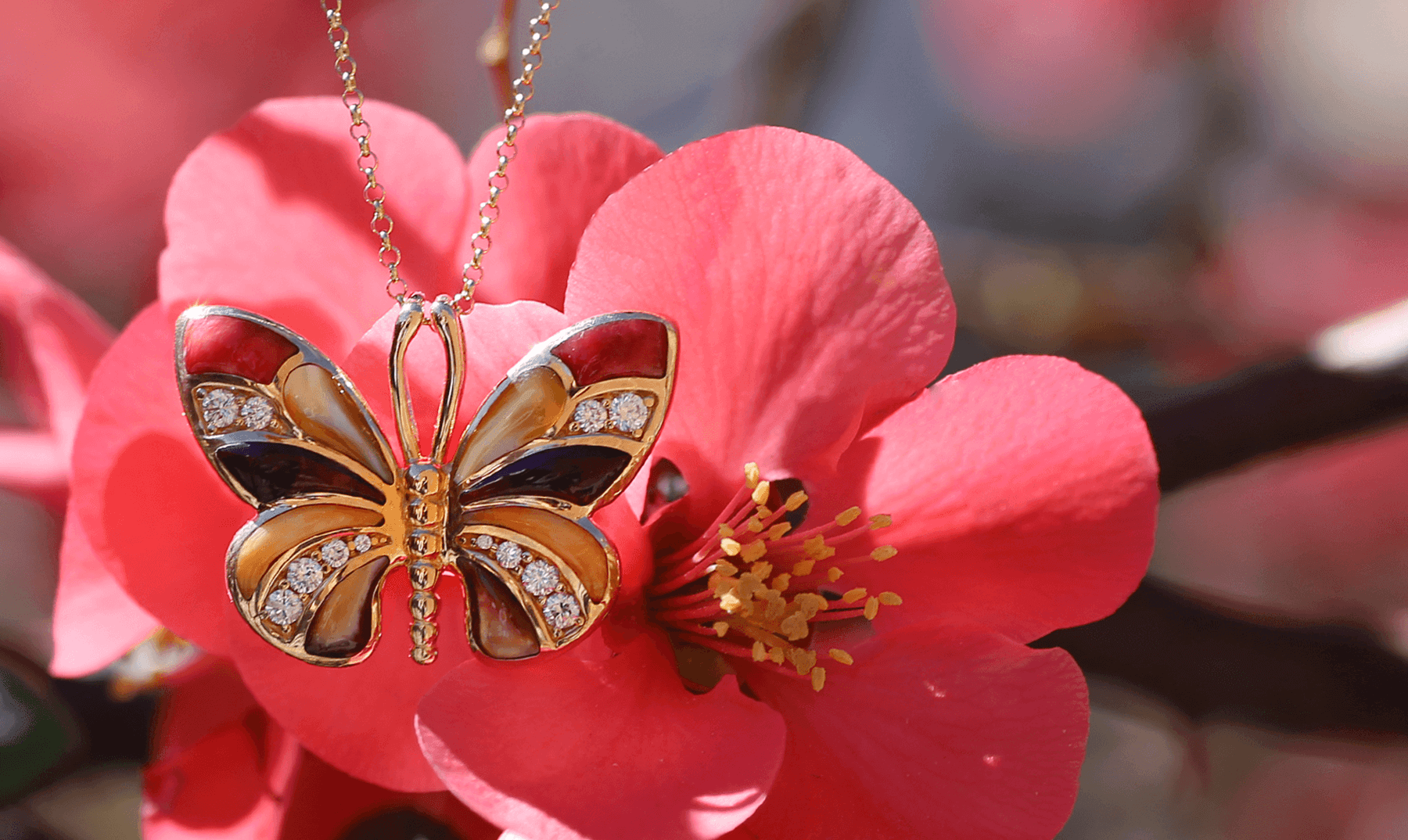 14kt yellow gold butterfly pendant with spiny oyster and mother of pearl inlay