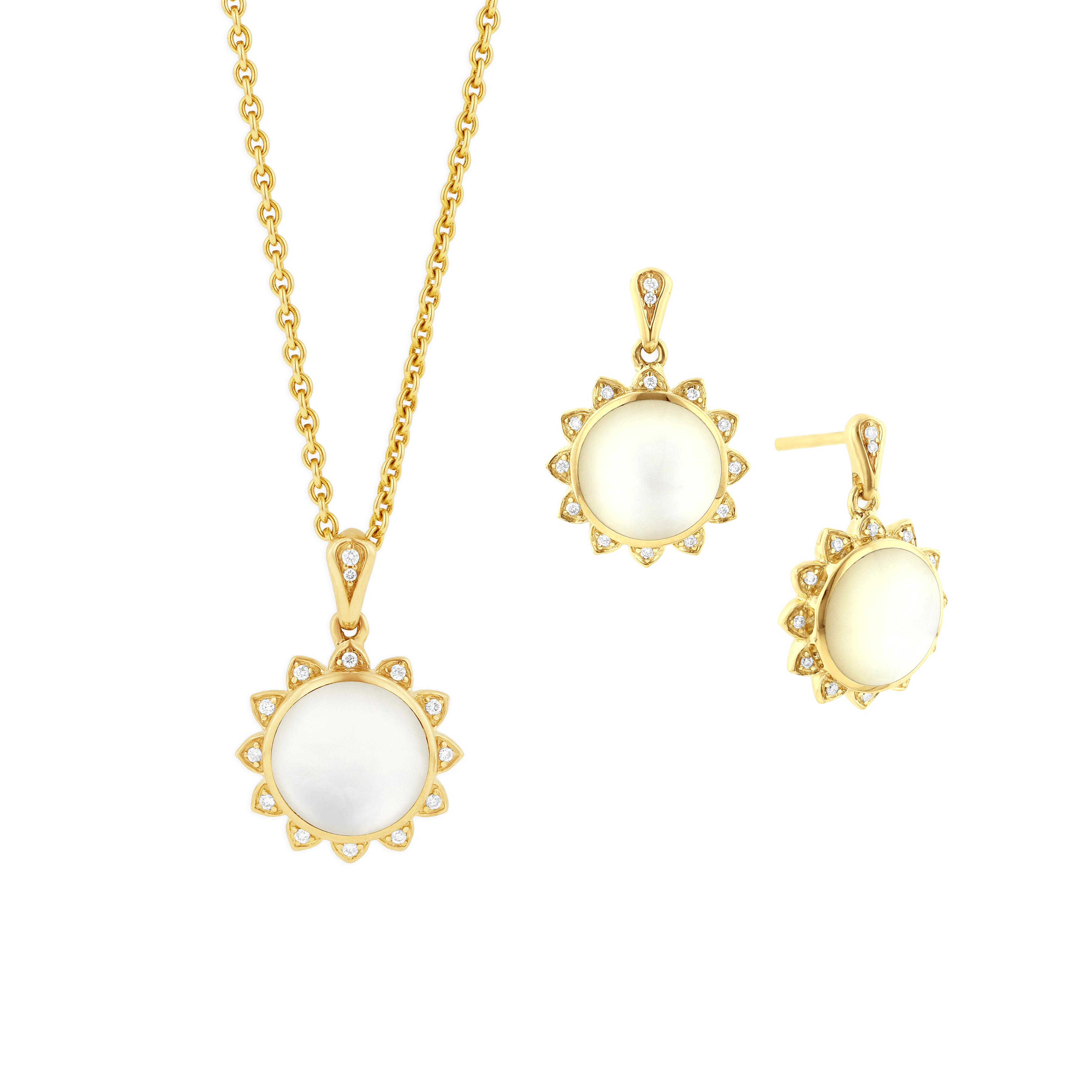 14kt yellow gold sun pendant and earrings with white mother of pearl