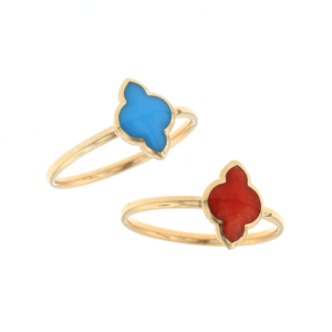 14kt yellow gold inlay rings