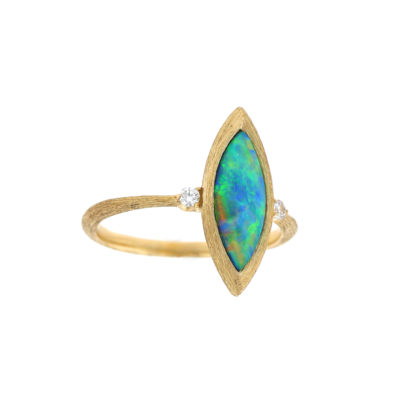 14K Yellow Gold ring with Australian Crystal Opal inlay and Diamonds (GPIF146TKS)